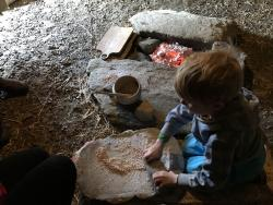 Grinding Spelt for Bronze Age Bread at the last meet