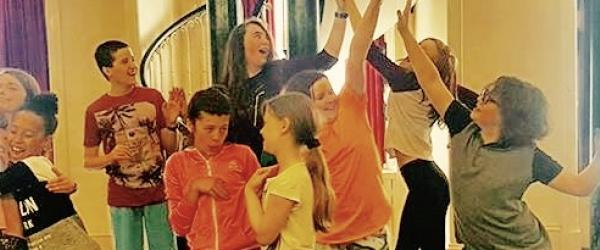 Children performing at physical theatre workshop