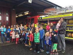 One of the Fire station groups in front of a fire engine